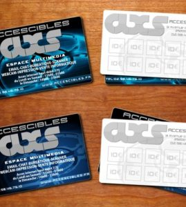 Identité visuelle : Carte de visite pour le cybercafé AXS